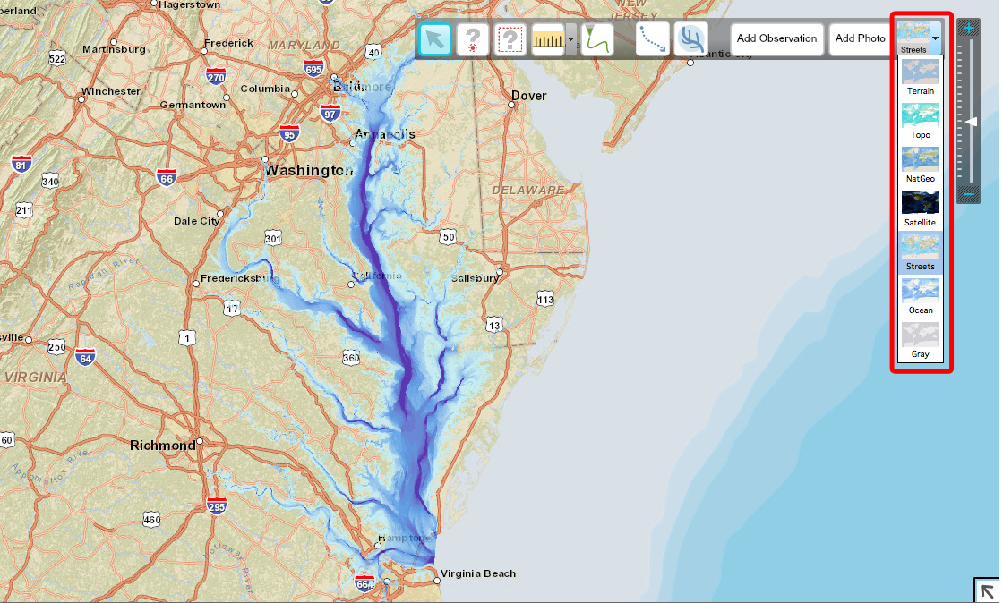 Chesapeake Bay Topographic Map.Chesapeake Bay Fieldscope 2 0